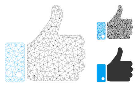 Mesh thumb up model with triangle mosaic icon. Wire frame triangular mesh of thumb up. Vector mosaic of triangle parts in different sizes, and color tints. Abstract 2d mesh thumb up, 일러스트