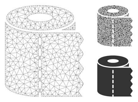 Mesh toilet paper roll model with triangle mosaic icon. Wire carcass polygonal network of toilet paper roll. Vector mosaic of triangle elements in variable sizes, and color shades.