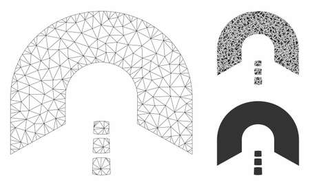 Mesh tunnel model with triangle mosaic icon. Wire carcass polygonal network of tunnel. Vector mosaic of triangle parts in variable sizes, and color tints. Abstract flat mesh tunnel,