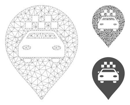 Mesh taxi car marker model with triangle mosaic icon. Wire frame polygonal mesh of taxi car marker. Vector mosaic of triangle elements in different sizes, and color tones.