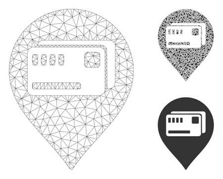 Mesh tickets map marker model with triangle mosaic icon. Wire frame triangular network of tickets map marker. Vector mosaic of triangle elements in variable sizes, and color shades. Иллюстрация