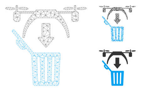 Mesh trash drone model with triangle mosaic icon. Wire carcass triangular network of trash drone. Vector mosaic of triangle elements in various sizes, and color tones. Abstract 2d mesh trash drone,