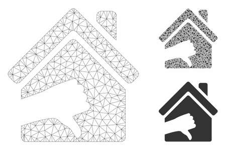 Mesh terrible house model with triangle mosaic icon. Wire carcass triangular mesh of terrible house. Vector mosaic of triangle elements in different sizes, and color tints.