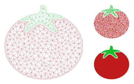 Mesh tomato model with triangle mosaic icon. Wire frame triangular mesh of tomato. Vector mosaic of triangle parts in various sizes, and color shades. Abstract 2d mesh tomato, 向量圖像