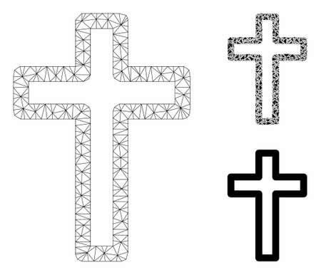 Mesh tomb cross model with triangle mosaic icon. Wire frame polygonal mesh of tomb cross. Vector mosaic of triangle elements in various sizes, and color tones. Abstract 2d mesh tomb cross, Imagens - 129987674