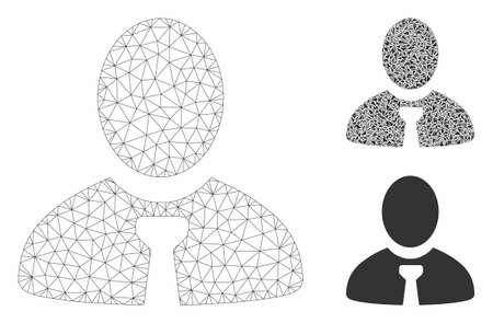 Mesh manager model with triangle mosaic icon. Wire frame polygonal mesh of manager. Vector mosaic of triangle parts in variable sizes, and color tinges. Abstract 2d mesh manager,