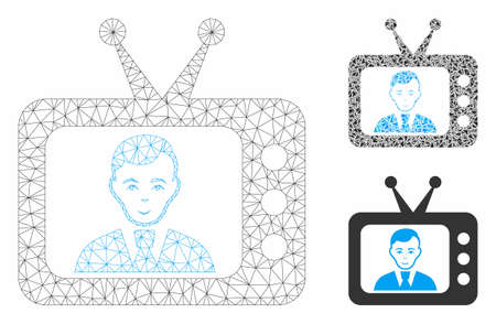 Mesh TV dictor model with triangle mosaic icon. Wire carcass triangular mesh of TV dictor. Vector mosaic of triangle elements in various sizes, and color shades. Abstract 2d mesh TV dictor,