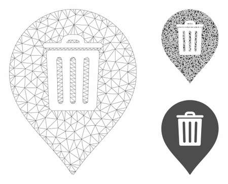 Mesh trash can marker model with triangle mosaic icon. Wire frame polygonal mesh of trash can marker. Vector collage of triangle parts in different sizes, and color tinges. Ilustração