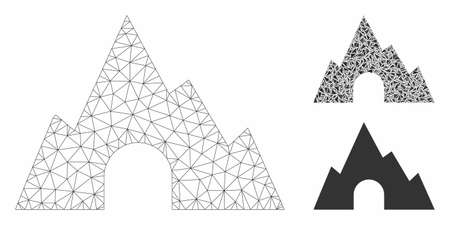 Mesh mountain tunnel model with triangle mosaic icon. Wire frame triangular mesh of mountain tunnel. Vector mosaic of triangle elements in variable sizes, and color tones.