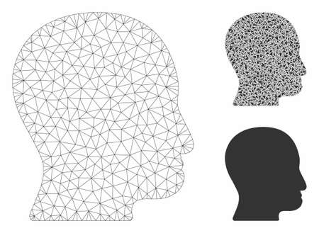Mesh user head model with triangle mosaic icon. Wire frame polygonal mesh of user head. Vector composition of triangle parts in various sizes, and color tinges. Abstract flat mesh user head,