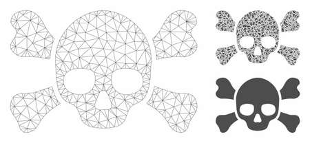 Mesh skull crossbones model with triangle mosaic icon. Wire carcass polygonal mesh of skull crossbones. Vector mosaic of triangle elements in variable sizes, and color tinges.