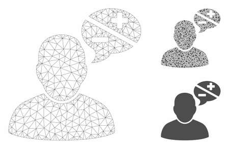 Mesh user arguments model with triangle mosaic icon. Wire carcass polygonal mesh of user arguments. Vector collage of triangle parts in different sizes, and color tints. Illustration