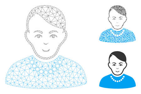 Mesh trendy guy model with triangle mosaic icon. Wire frame polygonal mesh of trendy guy. Vector collage of triangle parts in different sizes, and color tints. Abstract flat mesh trendy guy, Фото со стока - 129987354