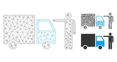 Mesh truck customer model with triangle mosaic icon. Wire carcass triangular mesh of truck customer. Vector collage of triangle elements in variable sizes, and color tints.