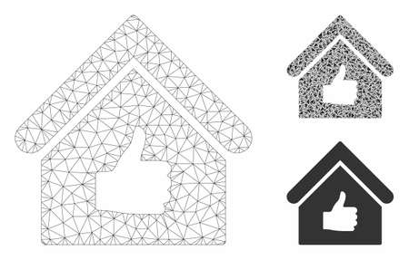 Mesh thumb up building model with triangle mosaic icon. Wire carcass triangular mesh of thumb up building. Vector mosaic of triangle parts in different sizes, and color tints.