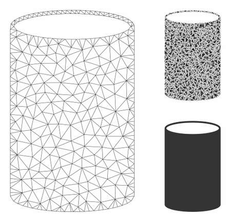 Mesh cylinder model with triangle mosaic icon. Wire carcass triangular mesh of cylinder. Vector composition of triangle parts in different sizes, and color tinges. Abstract flat mesh cylinder,
