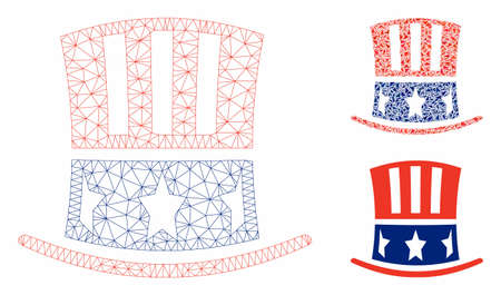Mesh Uncle Sam hat model with triangle mosaic icon. Wire carcass triangular mesh of Uncle Sam hat. Vector mosaic of triangle elements in different sizes, and color tones.