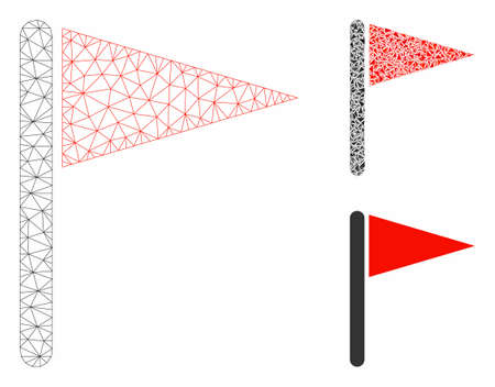 Mesh triangle flag model with triangle mosaic icon. Wire carcass triangular mesh of triangle flag. Vector mosaic of triangle parts in different sizes, and color tones. Abstract 2d mesh triangle flag,