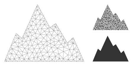 Mesh rock mountain model with triangle mosaic icon. Wire frame polygonal network of rock mountain. Vector mosaic of triangle parts in different sizes, and color tints. Abstract 2d mesh rock mountain,