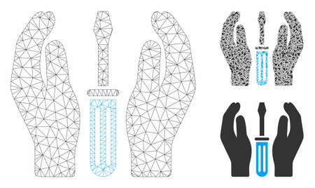 Mesh tuning screwdriver care hands model with triangle mosaic icon. Wire frame polygonal mesh of tuning screwdriver care hands. Vector mosaic of triangle elements in different sizes, and color shades.
