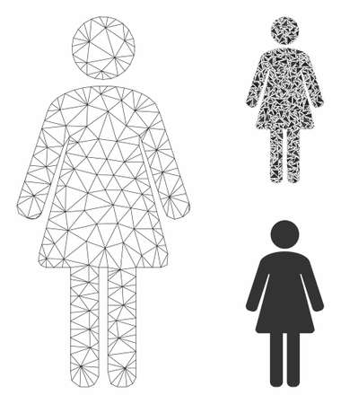 Mesh woman model with triangle mosaic icon. Wire frame polygonal mesh of woman. Vector mosaic of triangle elements in various sizes, and color tints. Abstract flat mesh woman,