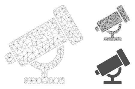 Mesh telescope model with triangle mosaic icon. Wire carcass polygonal mesh of telescope. Vector mosaic of triangles in various sizes, and color tones. Abstract 2d mesh telescope,