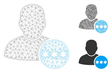 Modèle de mot de passe utilisateur maillé avec icône de mosaïque triangulaire. Maillage triangulaire de carcasse de fil de mot de passe d'utilisateur. Mosaïque vectorielle d'éléments triangulaires de différentes tailles et teintes de couleurs. Vecteurs