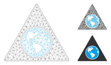 Mesh terra triangle model with triangle mosaic icon. Wire carcass triangular network of terra triangle. Vector mosaic of triangle parts in different sizes, and color hues.