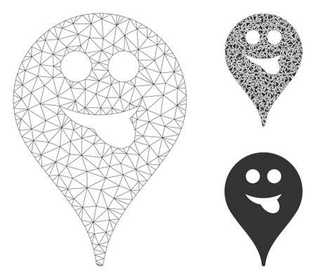 Mesh tongue smiley map marker model with triangle mosaic icon. Wire frame polygonal mesh of tongue smiley map marker. Vector mosaic of triangles in various sizes, and color shades.