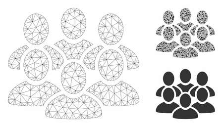 Mesh user crowd model with triangle mosaic icon. Wire carcass triangular mesh of user crowd. Vector mosaic of triangles in various sizes, and color shades. Abstract 2d mesh user crowd,