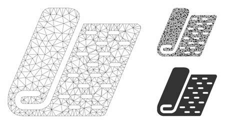 Mesh textile roll model with triangle mosaic icon. Wire carcass triangular mesh of textile roll. Vector composition of triangle elements in various sizes, and color tinges. Иллюстрация