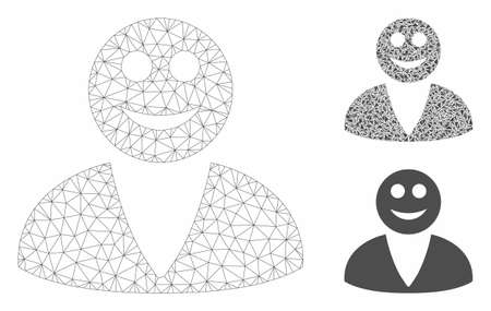 Mesh smiled user model with triangle mosaic icon. Wire frame triangular mesh of smiled user. Vector collage of triangle elements in different sizes, and color shades. Abstract 2d mesh smiled user,  イラスト・ベクター素材