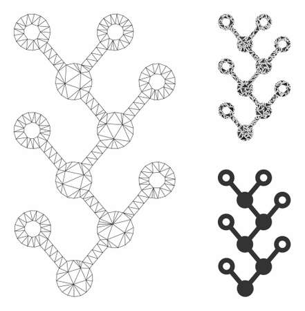 Mesh binary tree model with triangle mosaic icon. Wire frame polygonal mesh of binary tree. Vector mosaic of triangle elements in various sizes, and color tinges. Abstract 2d mesh binary tree,