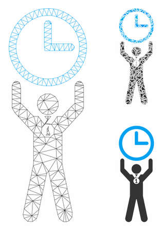 Mesh time champion model with triangle mosaic icon. Wire frame triangular mesh of time champion. Vector collage of triangle elements in different sizes, and color tones.