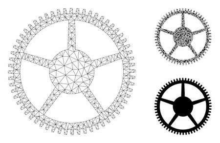 Mesh tooth main wheel model with triangle mosaic icon. Wire frame polygonal mesh of tooth main wheel. Vector composition of triangle elements in various sizes, and color hues.