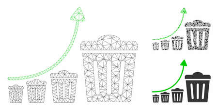 Mesh trash growing trend model with triangle mosaic icon. Wire carcass polygonal mesh of trash growing trend. Vector mosaic of triangle parts in variable sizes, and color tinges.