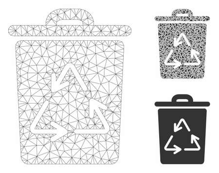 Mesh trash can model with triangle mosaic icon. Wire frame polygonal mesh of trash can. Vector mosaic of triangle parts in various sizes, and color tinges. Abstract flat mesh trash can,