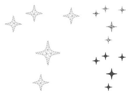 Mesh space stars model with triangle mosaic icon. Wire frame polygonal mesh of space stars. Vector composition of triangle elements in different sizes, and color tinges.