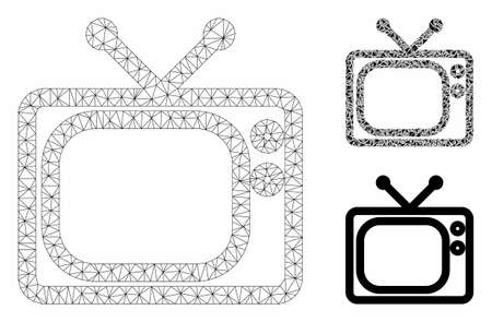 Mesh tv model with triangle mosaic icon. Wire frame triangular mesh of tv. Vector mosaic of triangle elements in variable sizes, and color tinges. Abstract 2d mesh tv, built from triangular grid.