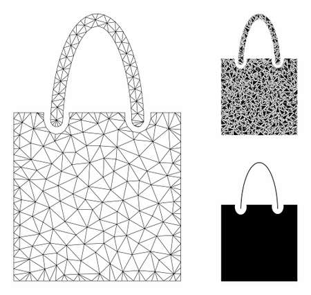 Mesh shopping bag model with triangle mosaic icon. Wire frame triangular mesh of shopping bag. Vector mosaic of triangle elements in variable sizes, and color tints. Abstract 2d mesh shopping bag,