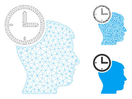Mesh time management head model with triangle mosaic icon. Wire frame polygonal mesh of time management head. Vector mosaic of triangle elements in various sizes, and color tinges. Иллюстрация