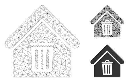 Mesh trash house model with triangle mosaic icon. Wire frame triangular mesh of trash house. Vector mosaic of triangle elements in variable sizes, and color shades. Abstract flat mesh trash house, Ilustração