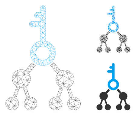 Mesh binary key model with triangle mosaic icon. Wire carcass polygonal mesh of binary key. Vector composition of triangles in variable sizes, and color tinges. Abstract 2d mesh binary key,