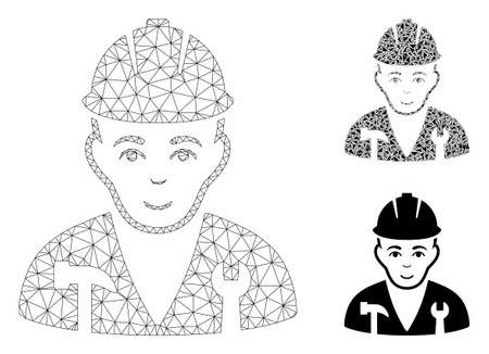 Mesh serviceman model with triangle mosaic icon. Wire frame polygonal mesh of serviceman. Vector collage of triangles in various sizes, and color tones. Abstract flat mesh serviceman,