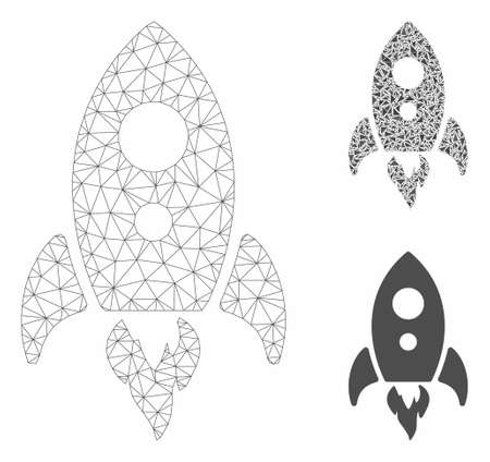 Mesh startup rocket model with triangle mosaic icon. Wire carcass polygonal mesh of startup rocket. Vector mosaic of triangles in variable sizes, and color tones. Abstract 2d mesh startup rocket, Ilustração