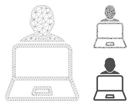 Mesh user laptop model with triangle mosaic icon. Wire frame polygonal mesh of user laptop. Vector composition of triangle parts in different sizes, and color tones. Abstract 2d mesh user laptop,