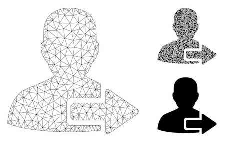 Mesh user logout arrow model with triangle mosaic icon. Wire frame triangular mesh of user logout arrow. Vector mosaic of triangle parts in variable sizes, and color tinges. Foto de archivo - 129953753