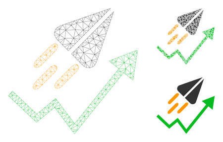 Mesh ton launch trend arrow model with triangle mosaic icon. Wire frame polygonal mesh of ton launch trend arrow. Vector mosaic of triangle elements in different sizes, and color tones. Ilustração