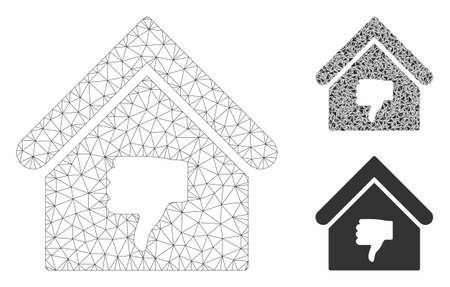 Mesh thumb down building model with triangle mosaic icon. Wire carcass polygonal mesh of thumb down building. Vector mosaic of triangle elements in different sizes, and color tones.