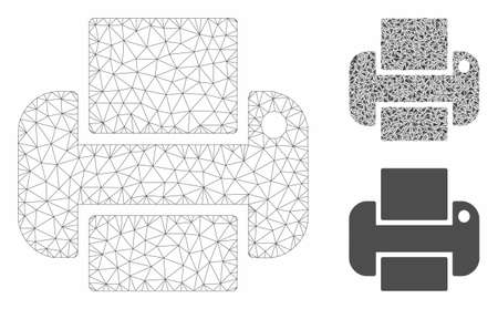 Mesh printer model with triangle mosaic icon. Wire carcass polygonal mesh of printer. Vector mosaic of triangle elements in different sizes, and color tones. Abstract flat mesh printer,